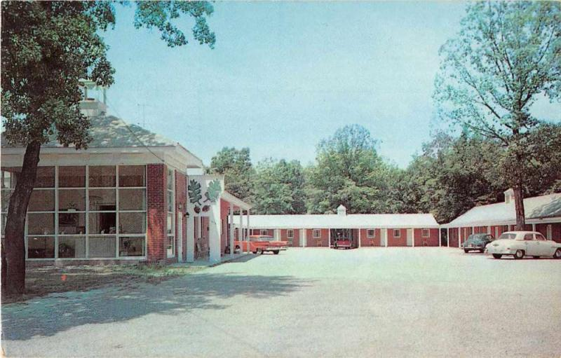 Ashland Virginia birds eye view Twin Oaks Motel entrance vintage pc Y15690