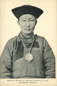 russia, SIBERIA, Buryatia Buryat, Native Maiden with Religious Necklace (1910s)