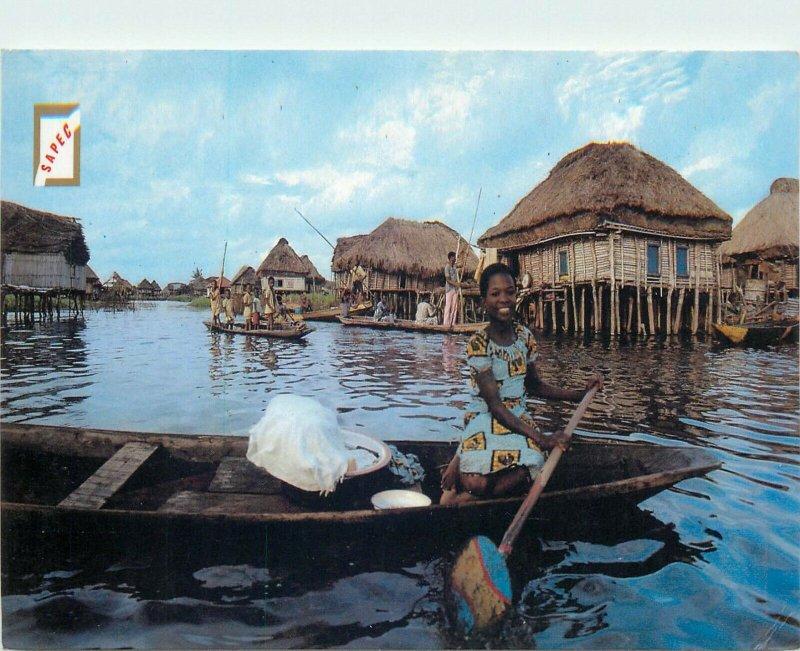 Benin Ganvie village lacustre boat postcard