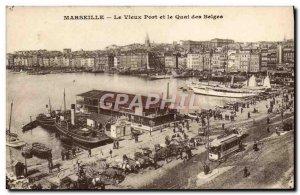 Old Postcard Marseille Vieux Port and Quai des Belges Boat Tram