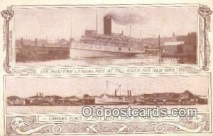 Steamer Puritan Leaving Pier AT Fall River, New York, NY USA Steam Ship Unuse...