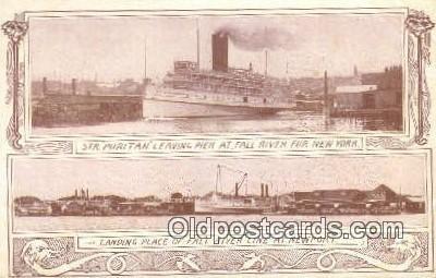 Steamer Puritan Leaving Pier AT Fall River, New York, NY USA Steam Ship Unuse...