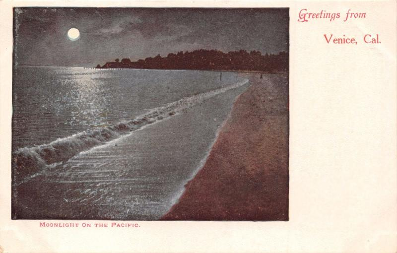 VENICE CALIFORNIA MOONLIGHT ON THE PACIFIC~GREETINGS FROM~RIEDER #674 POSTCARD