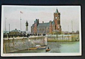 Mint Vintage Wales Lighthouse At Cardiff Docks Illustrated Postcard