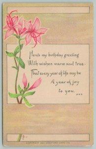 Flowers Greetings~Pretty Pink Lilies~c1910 Postcard