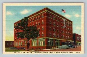 Mount Vernon IL-Illinois, Hotel Emmerson, Coffee Shop Advertising Linen Postcard