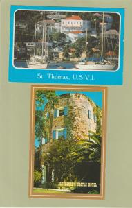 Lot of Two Postcatds St. Thomas Virgin Islands Harbor Castle Hotel