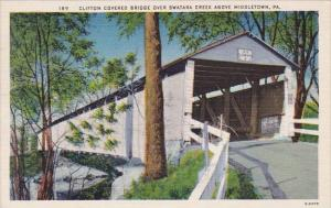 Pennslyvania Middletown Clifton Covered Bridge Over Swatara Creek Above Middl...