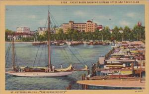 Florida St Petersburg Yacht Basin Showing Soreno Hotel and Yacht Club 1951 Cu...