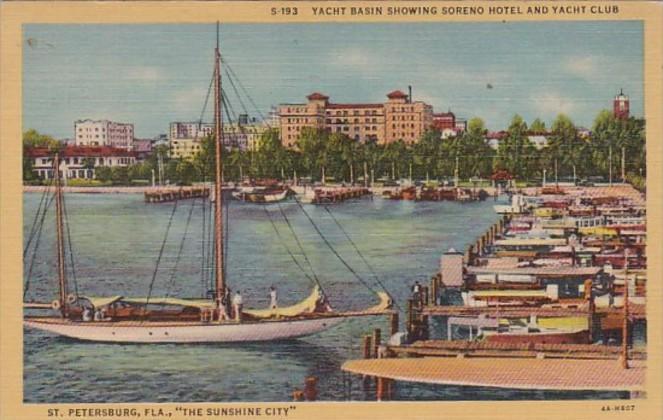 Florida St Petersburg Yacht Basin Showing Soreno Hotel and Yacht Club 1951 Cu...