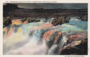 Idaho Twin Falls Shoshone Falls At Night Curteich