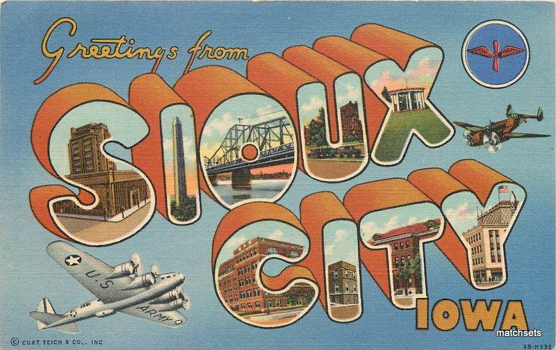 1940s Large letters multi View Sioux City Iowa Teich postcard 6954