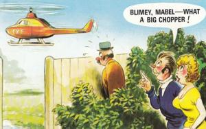 Helicopter Man With Big Chopper Peeping Tom Couple 1970s Comic Humour Postcard