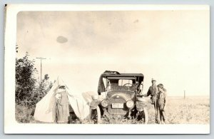 Alberta CA~Pa & Son~Pot & Bowl Rest on Wheels of Antique Car~Ma @ Tent~RPPC 1910