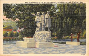 Marietta Ohio 1940s Postcard March Westward of the Nation Monument