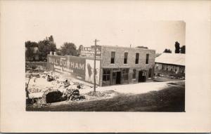 CW Miller Blacksmith~Machinery~Bull Durham Wall Billboard~Construction~1910 RPPC