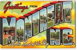 MONTREAT, NORTH CAROLINA Large Letter Linen Postcard - Curt Teich, 1939