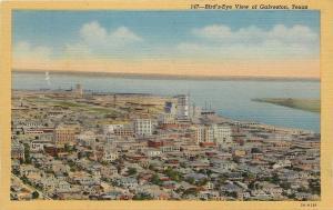 Galveston Texas~Birds Eye Of Galveston~Sea~1932~Postcard