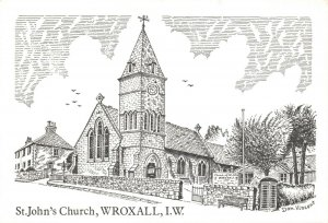 Art Sketch Postcard St. John's Church Wroxall Isle of Wight by Don Vincent AS1