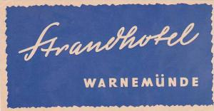 GERMANY WARNEMUENDE STRANDHOTEL VINTAGE LUGGAGE LABEL