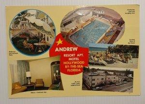 Postcard Andrew Resort Apartment Motel Hollywood Florida Jumbo 1964 old cars