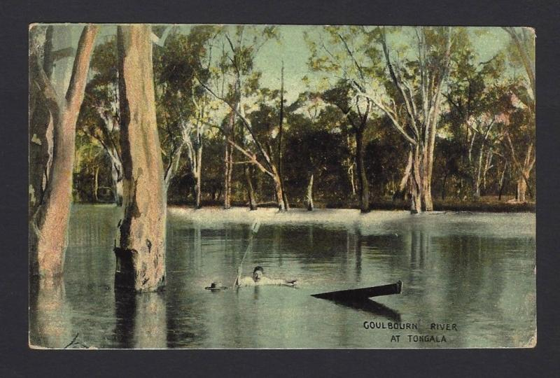 South Australia 1907 color postcard Goulbourn River at Tongola to Austria