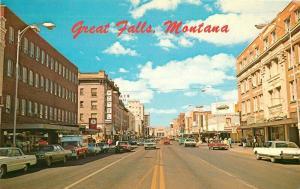 Autos Business District Central Great Falls Montana 1960s Postcard Ellis 5162