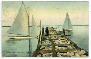 Yachts Sailing Boats Long Pier Geneva New York 1909 postcard