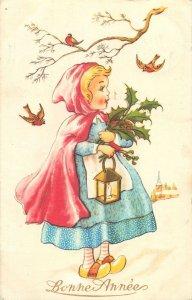 Postcard drawings Bonne Annee red riding hood
