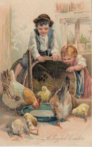 EASTER, PU-1909; Children watching Hens and chicks drinking water, PFB 7500