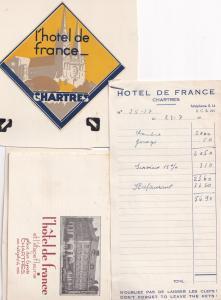 Chartres Hotel De France 1955 Receipt Ephemera Bundle