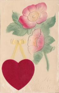 Valentine's Day Flowers With Embroidered Heart