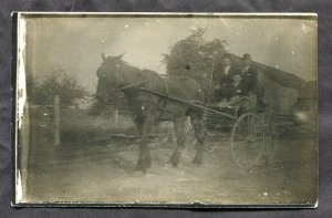 dc174 - Canada Ontario 1910s Real Photo Postcard Men in Horse Buggy