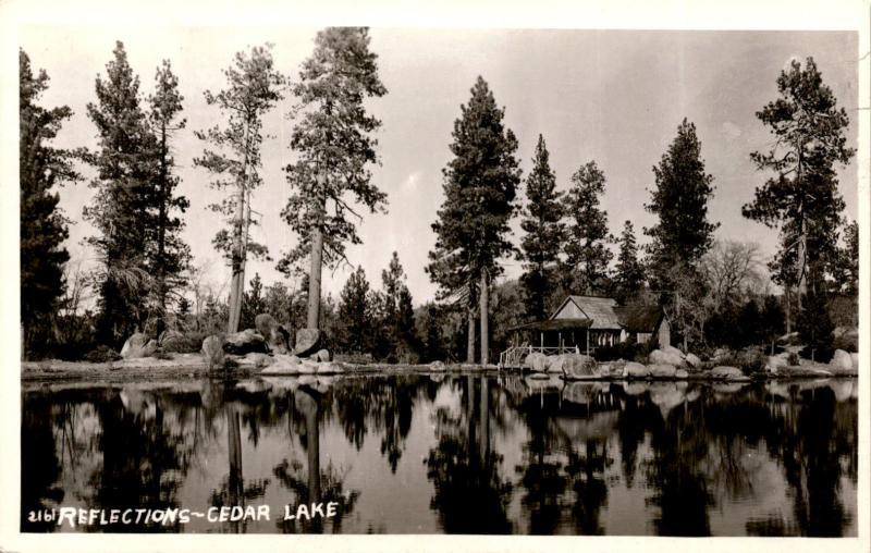 RPPC Cedar Lake, Reflections Cabin  Postcard A24