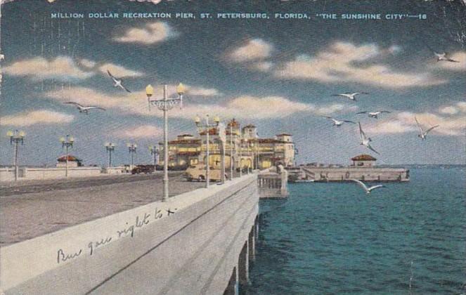 Florida St Petersburg Million Dollar Recreation Pier At Night 1947