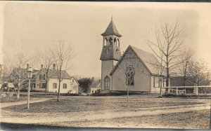 LP41  Oxford County  Maine Church Plain Back but PC Size   RPPC Postcard