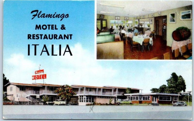 Ensenada BC Mexico Postcard MOTEL FLAMINGO & RESTAURANT ITALIA Roadside c1960s