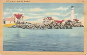 Boston Light House in Boston Harbor MA, Massachusetts - Linen