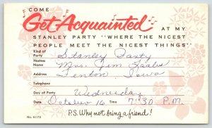 Fenton Iowa~Stanley Party Invitation~Mrs Jim Laabs to Mrs. George Meinke~1950s?