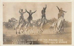 PENDLETON , Oregon, 1921 ; Female Rodeo , 4 cowgirls (1 black)