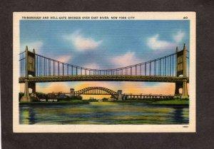 NY Triborough & Hell Gate Bridge East River New York City NYC Linen Postcard
