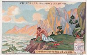 Liebig Trade Card S1196 The Iliad No 1 Philoctete sur Lemnos
