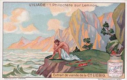 Liebig Trade Card S1196 The Iliad No 1 Philoctete sur Lemnos
