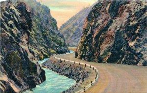 Vtg Linen Postcard Thompson Canon Estes Rocky Mountains Cliffs Highway Unused