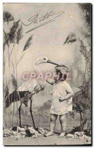 Old Postcard Fun Children Stork