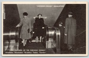 Chicago Illinois~Subway Escalators~Star Feature~Accident Proof~1940's
