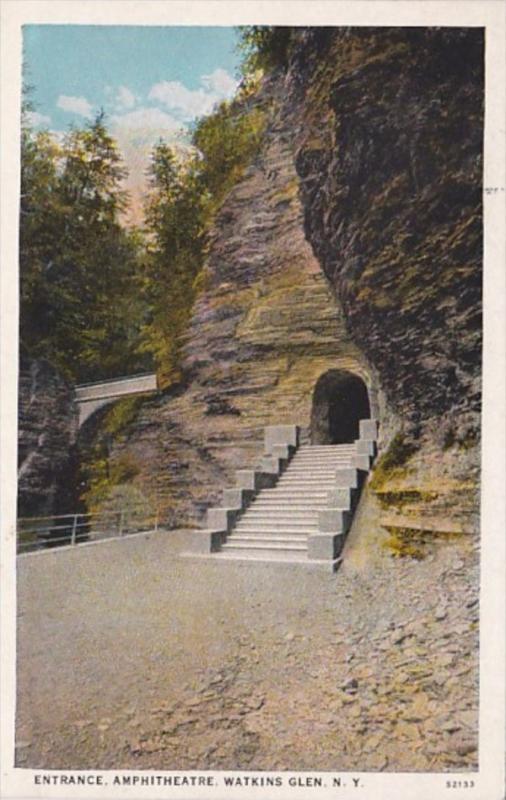 New York Watkins Glen Amphitheatre Entrance Curteich