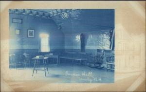 Unity NH Grange Hall Interior Cyanotype c1910 Real Photo Postcard