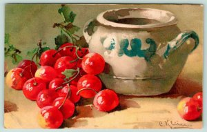 Catherine Klein Cherries~Scuffed Up Blue White Two Handled Bowl~1908 Winsch
