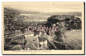 Old Postcard Monaco and Monte Carlo View from the Observatory